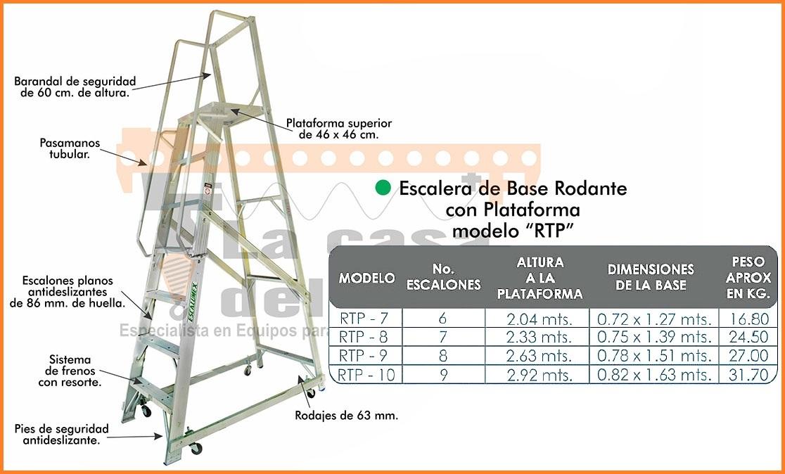 Escalera de Base Rodante con Plataforma Modelo RTP