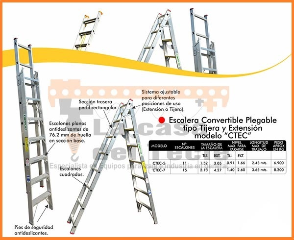 Escalera Convertible Plegable Tipo Tijera y Extension Modelo CTEC
