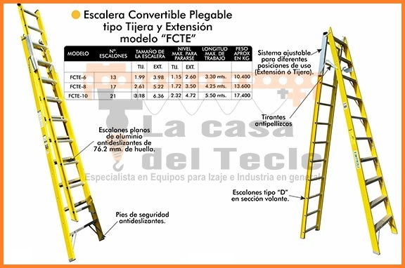 Escalera Convertible Plegable Tipo Tijera y Extension Modelo FCTE