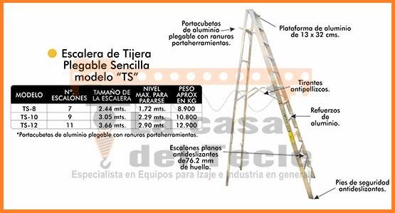 Escalera de Tijera Plegable Sencilla Modelo TS