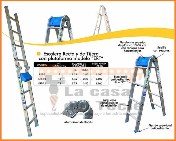 Escalera Recta y de Tijera con plataforma Modelo ERT