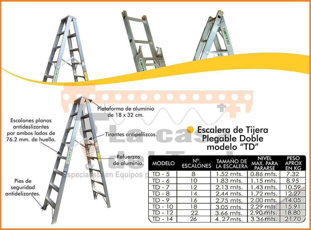 Escalera de Tijera Plegable Doble Modelo TD
