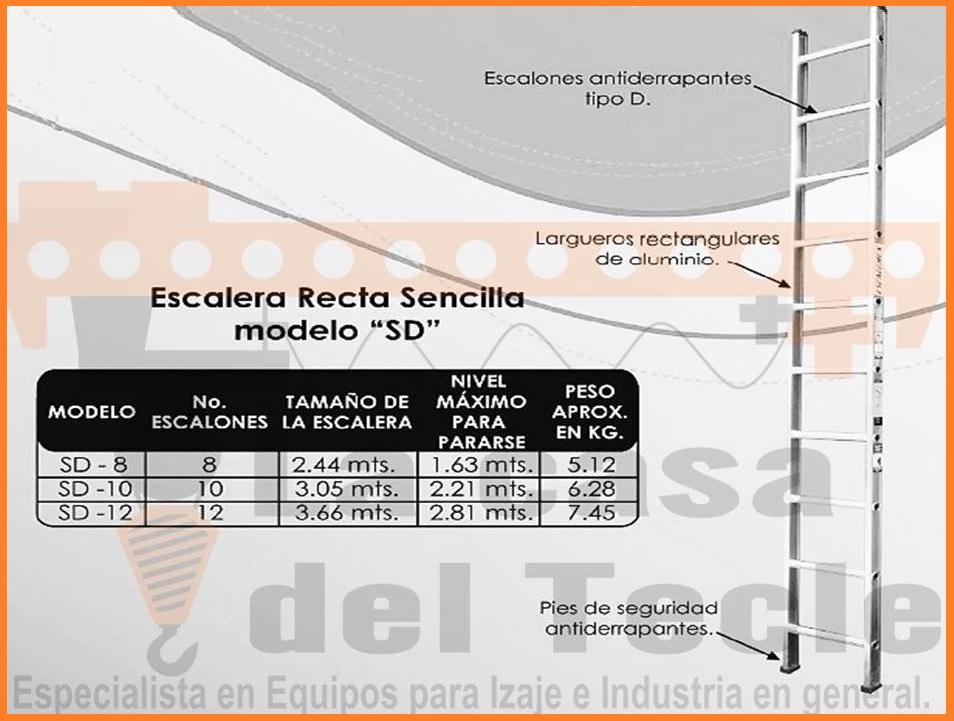 Escalera Recta Sencilla Modelo SD