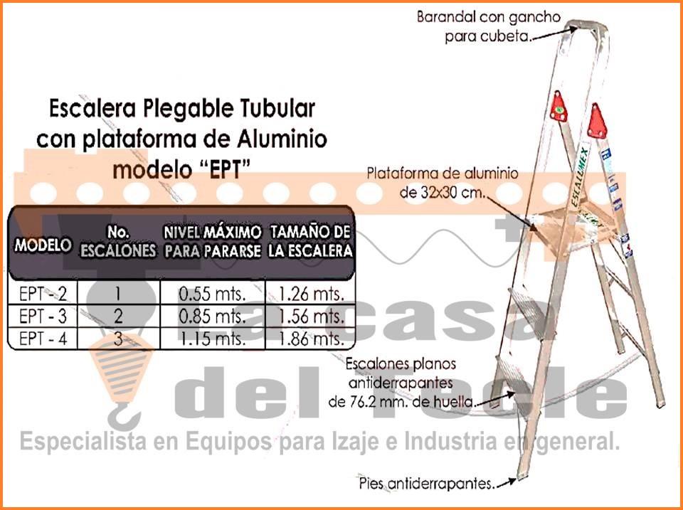 Escalera Plegable Tubular con Plataforma de Aluminio Modelo EPT