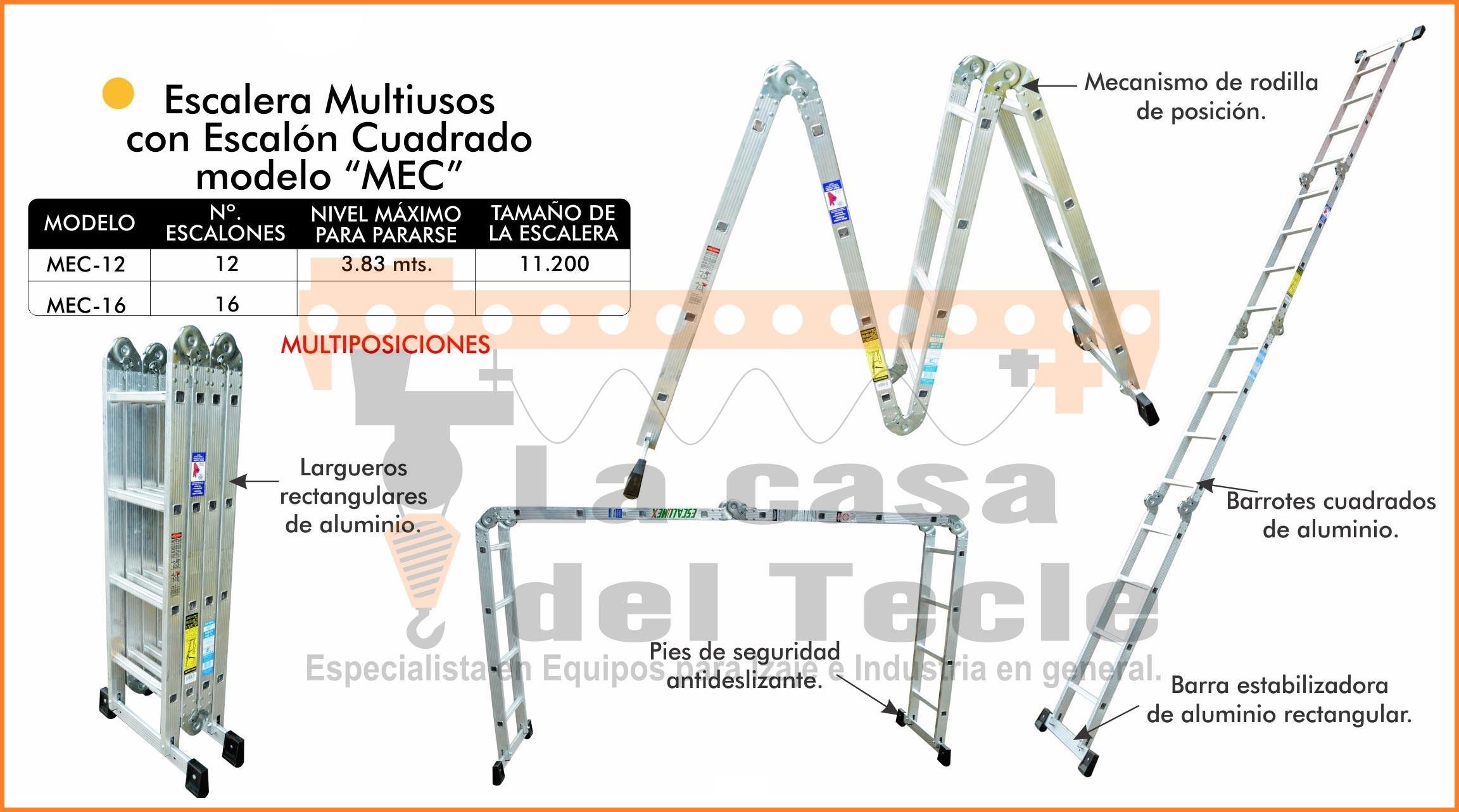 Escalera Multiusos con escalón cuadrado Modelo MEC
