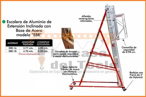 Escalera de Aluminio de Extencion Inclinada con base de Acero Modelo EBR