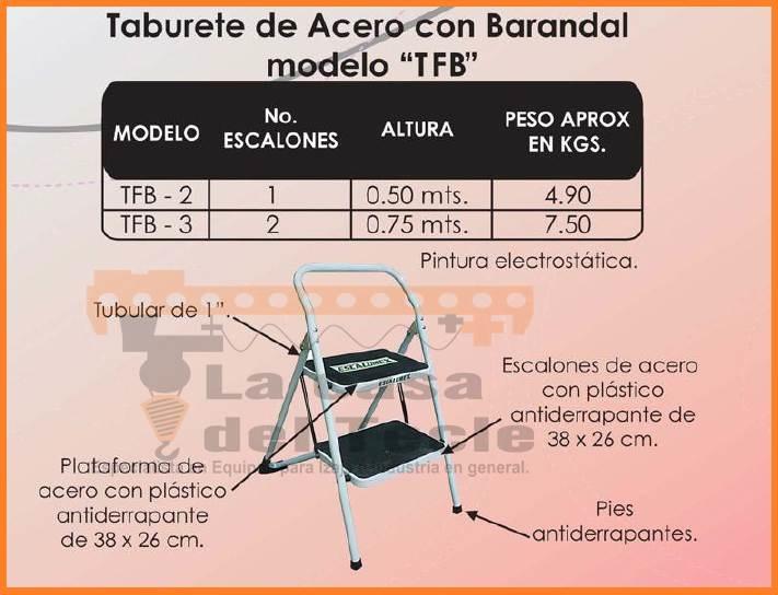 Escalera Taburete de Acero con Barandal Modelo TFB
