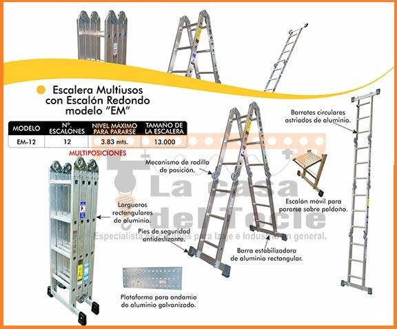 Escalera Multiusos con Escalón Redondo Modelo EM